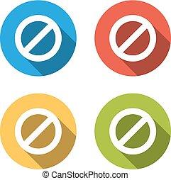 plat, coloré, isolé, collection, boutons, long, interdiction, ombre, 4