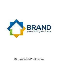 plat, coloré, maison, conception, logo, gabarit