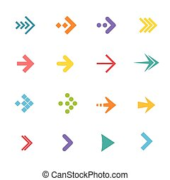 plat, coloré, set., flèches, vecteur, conception
