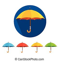 plat, coloré, set., vecteur, conception, parapluies