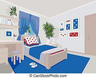 Vecteurs de plat color style chambre coucher for Chambre style manga
