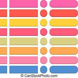plat, coloré, toile, bouton, vide, rond, icône