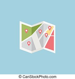 plat, coloré, vecteur, emplacement, icône, conception
