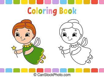 plat, coloration, mignon, simple, character., isolé, illustration, dessin animé, gai, livre, vecteur, style., kids.