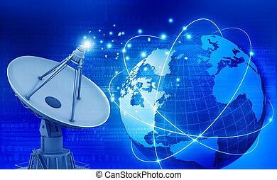 plat, communication, satellite, global, technologie