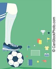 plat, communie, club, illustratie, voetjes, voetbal