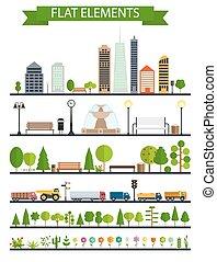plat, communie, stad, park, bos, straat