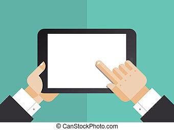 plat, computer illustratie, tablet, zakenman
