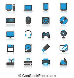 plat, computer, reflectie, iconen