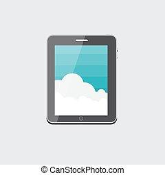 plat, computer, tablet, concept, vector, illustratie