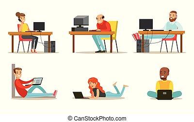 plat, computers., ensemble, bavarder, fonctionnement, hommes, ou, portables, vecteur, vidéo, peuples, internet, jeux, dessin animé, jouer, femmes
