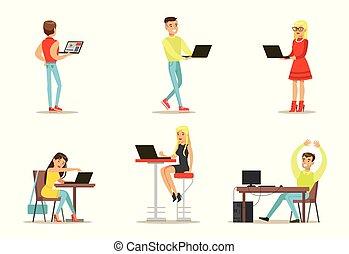 plat, computers., ensemble, fonctionnement, bavarder, gens, users., filles, jeune, vecteur, amis, internet, jeux, types, jouer