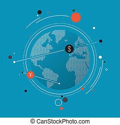 plat, concept, échange, argent, global, illustration