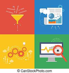 plat, concept, élément, conception, données, icône