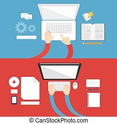 plat, concept, élément, informatique, conception, icône