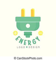 plat, concept, électrique, business, plug., eco, moderne, isolé, amical, technologies., vecteur, conception, logo, blanc, original, ou, écologiquement