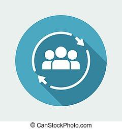 plat, concept, -, équipe, minimal, icône