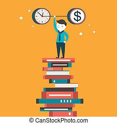 plat, concept, argent, illustration, allocation, conception, temps