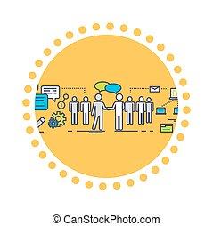 plat, concept, association, business, icône