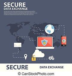 plat, concept, assurer, échange, données, bannière, icône