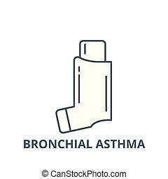 plat, concept, asthme, contour, signe, illustration, symbole, vector., icône, bronchique, ligne