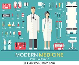 plat, concept, autour de, staff., icônes, personnel, docteur., visite, équipement, mettez stylique, fond, fournitures, médecine, santé, illustration., monde médical, hôpital, éléments, soin