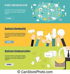 plat, concept, bedrijfsmededeling, element, ontwerp, pictogram