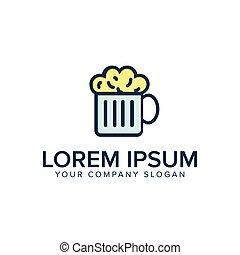 plat, concept, bier, ontwerp, mal, logo