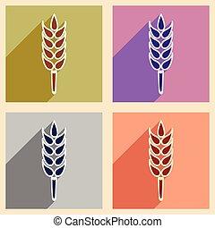 plat, concept, blé, mobile, application, ombre, oreille