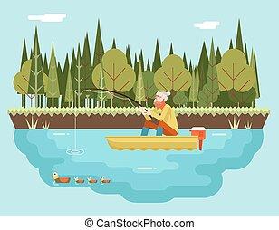 plat, concept, bos, achtergrond, staaf, karakter, illustratie, scheepje, vector, visser, visserij, mal, ontwerp, vogels, landscape, pictogram