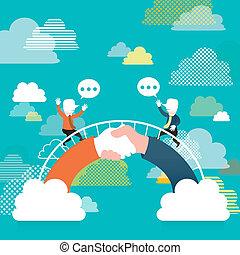 plat, concept, brug, communicatie, illustratie, ontwerp