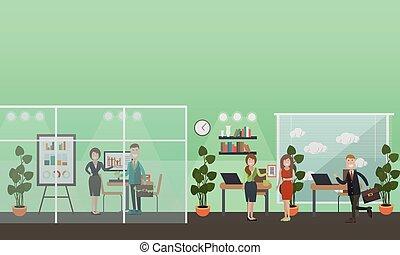 plat, concept, bureau affaires, gens, illustration, vecteur