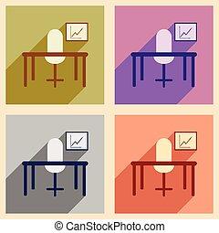 plat, concept, bureau, diagramme, bureau, ombre, chaise, icône