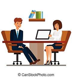 plat, concept, bureau, femme affaires, discussion, isolé, illustration, vecteur, fond, homme affaires, blanc, dessin animé