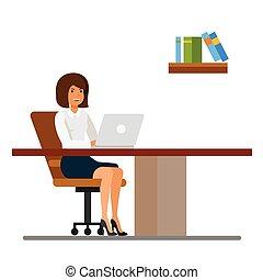plat, concept, bureau fonctionnant, isolé, illustration, vecteur, fond, bureau, blanc, dessin animé, secrétaire