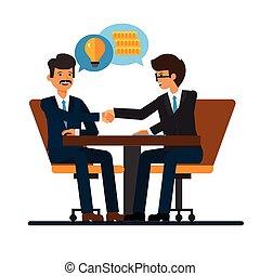 plat, concept, bureau, mains affaires, bureau, isolé, illustration, vecteur, hommes affaires, fond, négociations, blanc, secousse, dessin animé