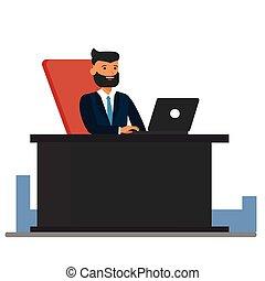 plat, concept, bureau, séance, grand, isolé, illustration, patron, vecteur, fond, bureau, blanc, dessin animé