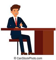 plat, concept, bureau, séance, isolé, illustration, vecteur, fond, homme affaires, table, blanc, dessin animé