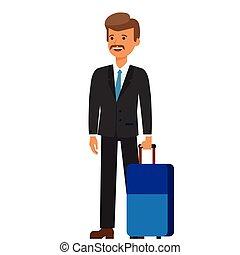 plat, concept, business, bagage, isolé, illustration, voyage, vecteur, fond, homme affaires, blanc, dessin animé