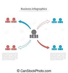 plat, concept, business, coloré, pictogram., infographic, gabarit, homme affaires, style.