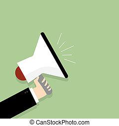 plat, concept, business, commercialisation, illustration, vecteur, conception, tenue, numérique, porte voix, homme