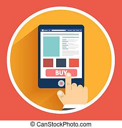 plat, concept, business, main, smartphone, conception
