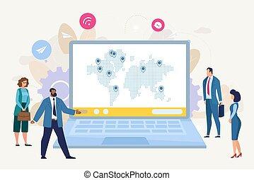 plat, concept, business, vecteur, croissance, international