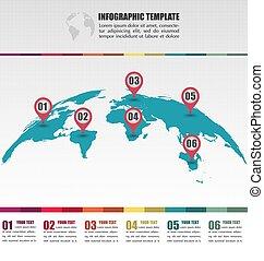 plat, concept, carte, globe, nombre, infographic, emplacement, gabarit, mondiale, marques