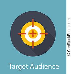 plat, concept, cible, illustration, audience, vecteur, icône