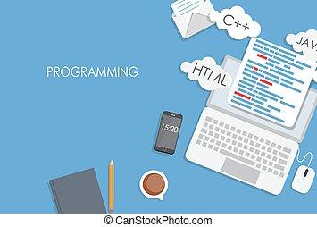 plat, concept, codage, programmation, illustration, vecteur