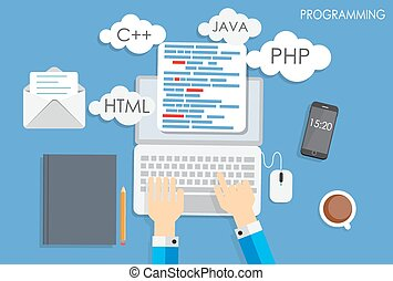 plat, concept, coderen, programmering, illustratie, vector