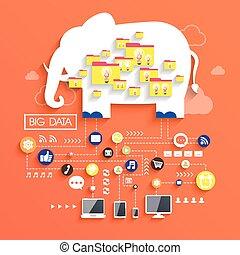 plat, concept, conception, données, grand