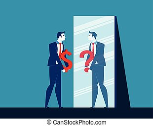 plat, concept, confusion., illustration., business, dollar, question, signe, quoique, vecteur, miroir, homme affaires, refléter, marque, dépeindre