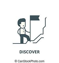 plat, concept, contour, découvreur, signe, illustration, symbole, vector., icône, ligne
